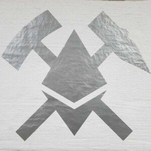 Ethereum Aufkleber silber 68 cm Wandtattoo Wall Ar