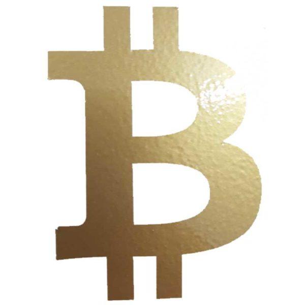 Bitcoin Aufkleber gold B